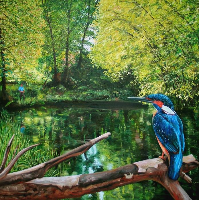 Big painting of kingfisher, groot schilderij van ijsvogel