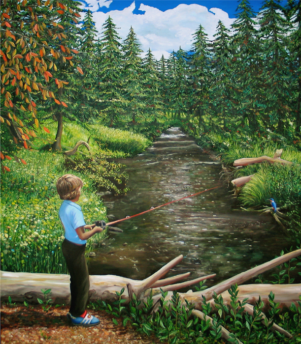 paining boy fishing with kingfisher