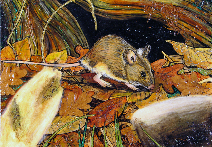 mixed media wood mouse