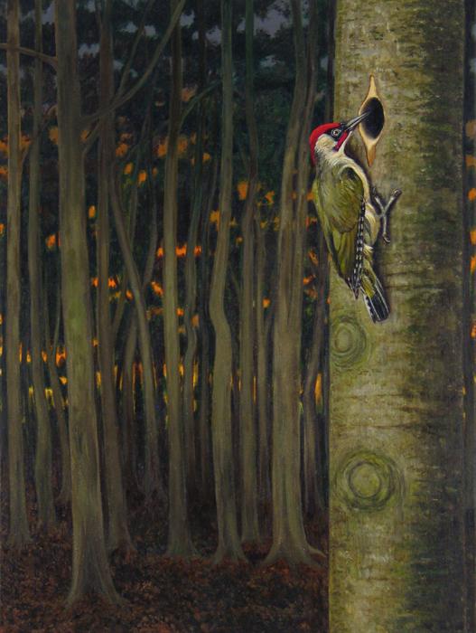 painting of green woodpecker, schilderij groene specht