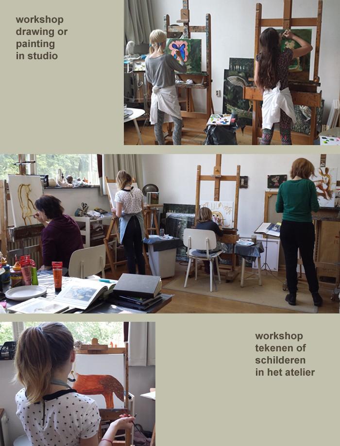 workshop painting in studio Zomerdijkstraat Amsterdam