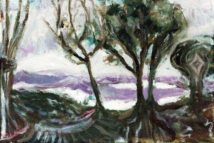 painted landscape after Corot, landschap naar Corot