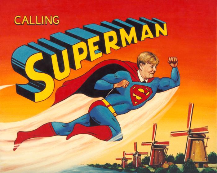 painting of Dutch crown prince as Superman, Prins Willem-Alexander als Superman