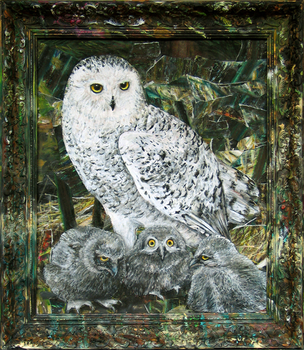 Sneeuwuil I / Snowy Owl I (2016) acrylic, oil pastel, collage, oil on frame, 61 x 81 cm