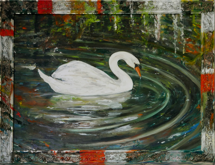 Knobbelzwaan II / Mute Swan II (2018) oil on canvas and frame, 70 x 90 cm
